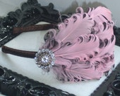 Feather Headband-Womens Feather Fascinator-Pink and Brown headband-Curled Feather-Nagorie-Flapper headband-bridesmaids hairpiece