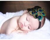 Baby Headband..Baby Peacock headband..Newborn Headbands..Baby Girls Headbands.Peacock Headband..Feather Fascinator.Black friday-cyber monday