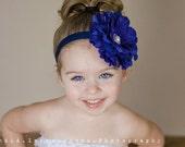 Baby Headbands-Baby Girls Headbands-Flower Headbands-Hair Bows-Photo Props-Girls Headbands-Newborn Headbands-Navy Headbands-Easter Dress