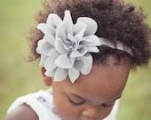 Baby Girls Headbands..Newborn headbands..baby Headbands..Chiffon Headbands..Flower Headbands..Ivory..Aqua..Silver..Infant.