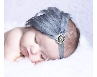 Baby headbands, Baby girls headbands, Flapper Headbands, Feather fascinator, Baby feather headbands, Gray, Silver gray, Hair bows