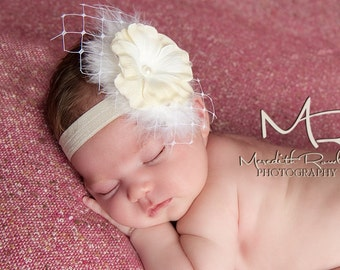 Vintage Baby Headbands, Baptism Headbands And Bows, Ivory Headbands, Baby Photography Props Newborn, Christening Hair Bows, Hair Accessories