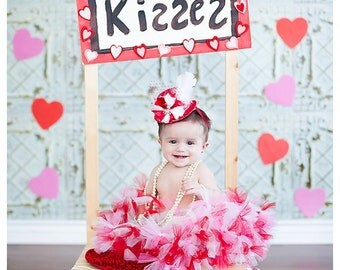 Mini Top Hat Fascinator-Red-Hot PInk-Hearts top hat-Valentines-Mad Hatter-Baby Headband-Infant Headband-Newborn Headband-Toddler Headband