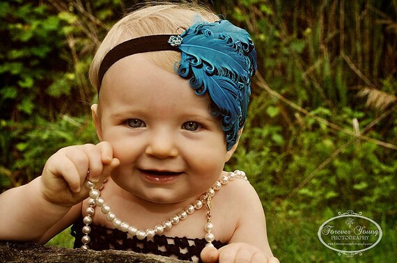 Baby Headband Bows-Baby Headbands-Flapper Headbands-Feather Headbands-Curled Feather Headbands-Aqua Headbands-Newborn Photo Props