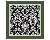 "16"" x 16"" Black on White Damask Pillow Cover Cross Stitch Pattern -- PDF"
