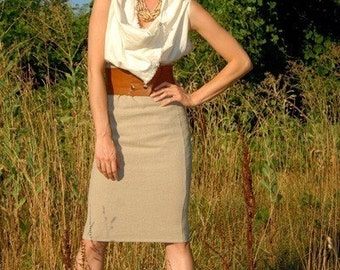 ORGANIC Hemp Linen High Waist Pencil Skirt