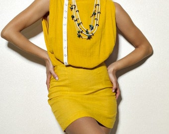Pretty Birdie's Asymmetrical Mustard Gauze and Hemp Linen Mini Dress