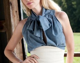 Pretty Birdie's Hemp and Organic Cotton Chambray Tie Blouse