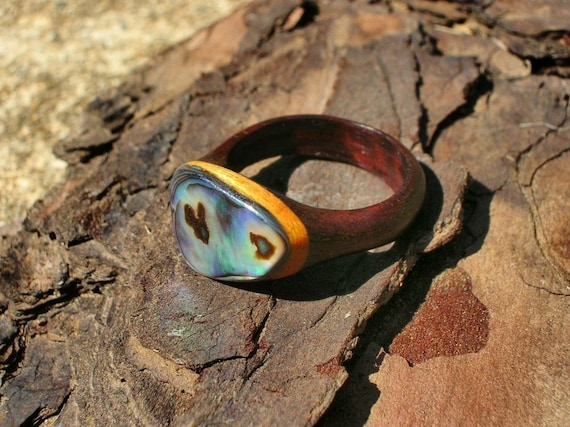 Pretty Birdie's Recycled Wood and Abalone Ring RESERVED for Melissa