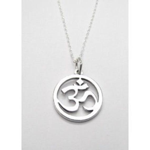 OM Jewelry Necklace Sanskrit Yoga Symbol Sterling Silver