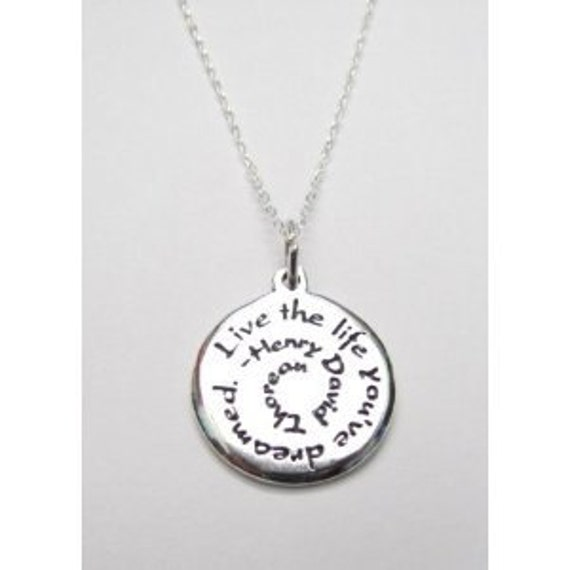 Graduation Gift Inspirational Jewelry Henry David Thoreau Quote Necklace 18""