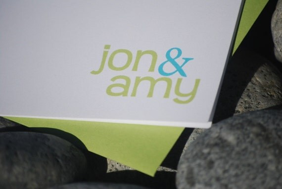 Jon/Amy Blank Notecard set of 12, Wedding Thank You cards