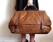 Vintage 1980 Brown Leather Carry On Bag from Pudding
