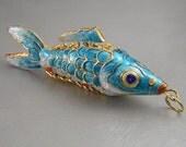 Vintage Articulated Fish Blue Enamel Pendant