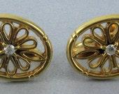Vintage Avon Earrings 10k Gold Diamond Award