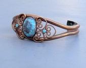Vintage Copper Cuff Bracelet Southwestern Design