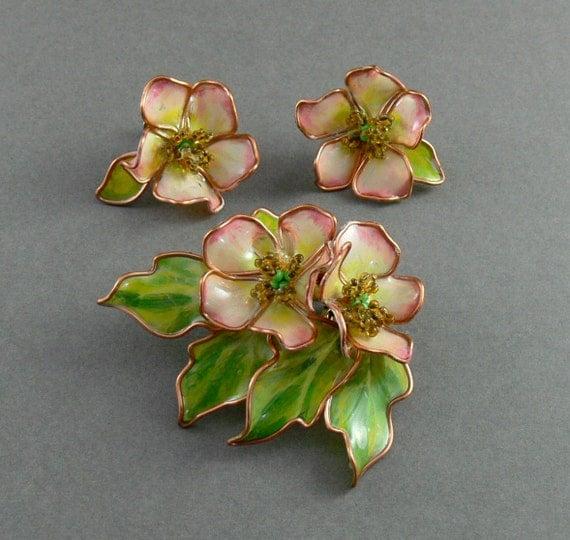 Vintage Flower Brooch & Earrings  Faux Plique A Jour