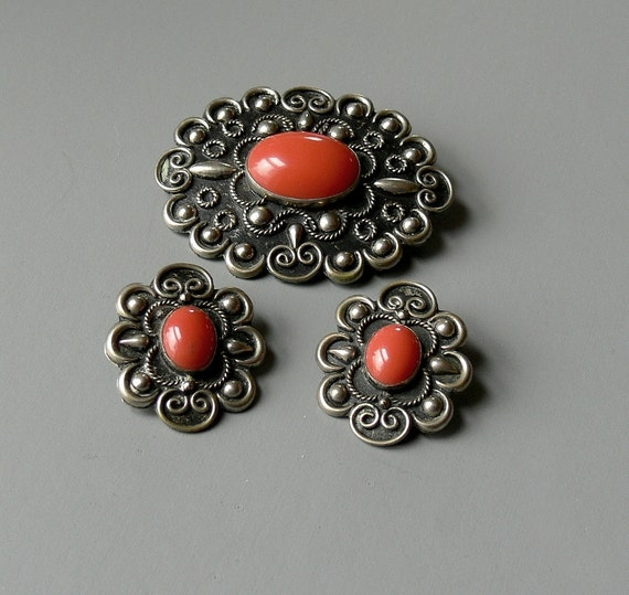 Vintage Southwestern Silver Brooch & Earrings Niello Finish