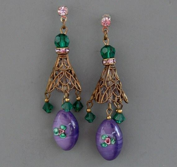 RESERVED for PK  ONLY Vintage Art Glass Bead Earrings
