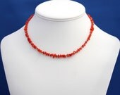 Red Coral and Turquoise Choker Necklace, For Women, For Children, Understated Red Necklace, Branch Coral, Turquoise, Unique Strand Necklace