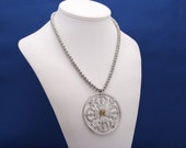 Om Bali Silver Pendant and Thai Karen Hill Tribe Silver Necklace, Om Symbol, Religious Necklace, Hindu Symbol of the Absolute, Hindu belief