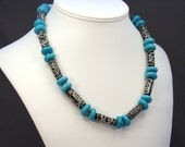 SALE-Earth and Sky-(Turquoise and Hand Carved Bone)
