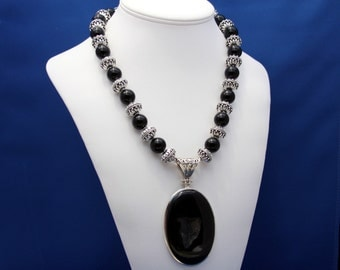 Black Onyx Druzy Pendant and Necklace Statement Strand July Birthstone 7th and 10th Anniversary