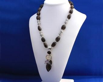 Topaz, Amethyst, Lemon Quartz Necklace, November Birthstone, 19th Anniversary, Brown Necklace, Multi-gemstone Necklace, Professional Woman