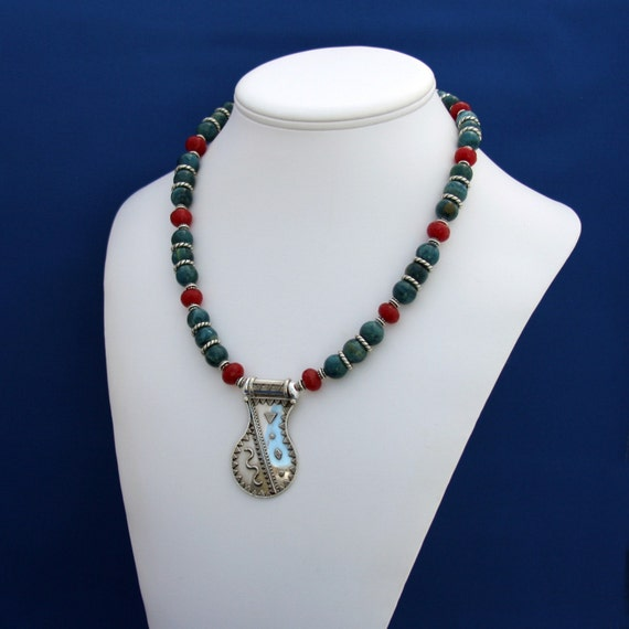 Silver Snake Pendant, Jade and Apatite Necklace Unique Statement For Men Women Teens-Athena