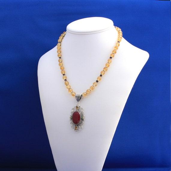 Ruby, Peridot and Citrine Pendant Necklace, July Birthstone, August Birthstone, November Birthstone, 13th Anniversary, 15th Anniversary
