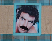 tom selleck mustache turquoise plaid tea towel