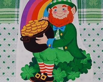 vintage leprechaun st patricks day tea towel
