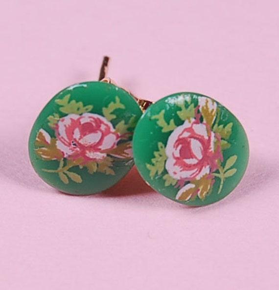 tiny green rose cameo post earrings