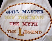 Embroidered Grill Master full Men s apron