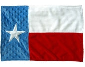 Texas flag in minky - BABY lovey, burp cloth or blanket ... FREE SHIPPING