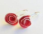 Pomegranate Flower Rose Dangle Earrings in Sterling Silver