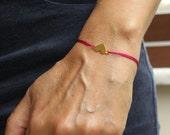 Friendship Bracelet Heart Wish Love Gold Plated Sterling Heart  Bracelet Fuschia Pink Under 25