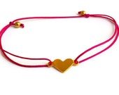 Friendship Bracelet Pink Gold Heart Wish Love Gold Plated Sterling Fuschia Under 25