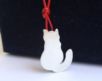 Mr. Cat Pendant with Red Leather