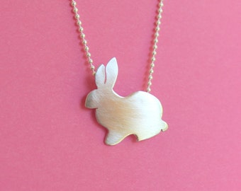 Cute Bunny Necklace in Sterling Silver