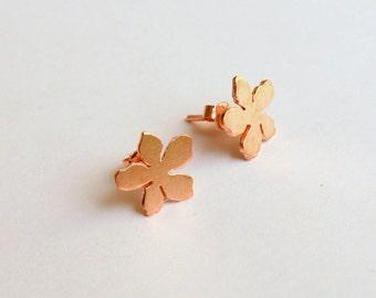 Rose Gold Plated Sakura Studs Dainty Earrings