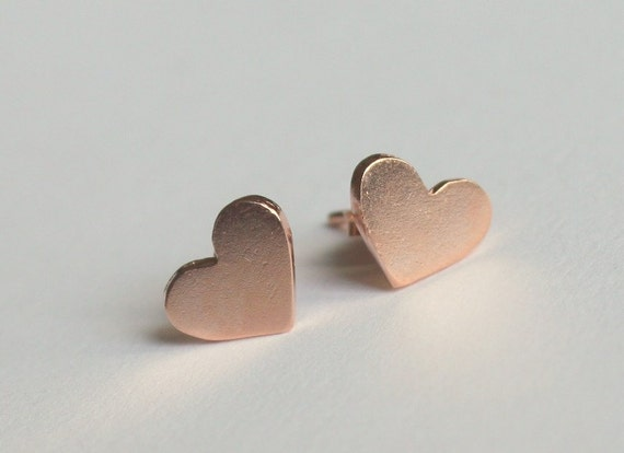 Rose Gold Plated Tiny Valentine's Day Heart Earrings Studs