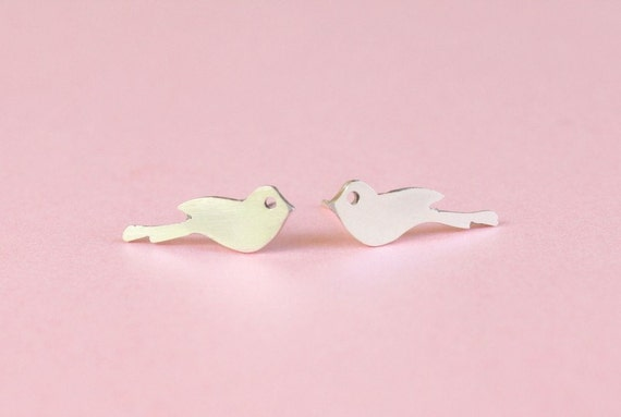 Delicate Love Bird Studs in Sterling Silver SALE... Last 5 Pairs ...