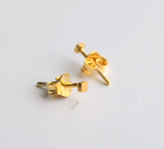 2mm Tiny Dainty Simple Geometric Square Stud Earrings Gold Plated Sterling Under 25