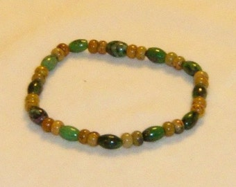 Golden Agate and Chrysoprase Bead Bracelet