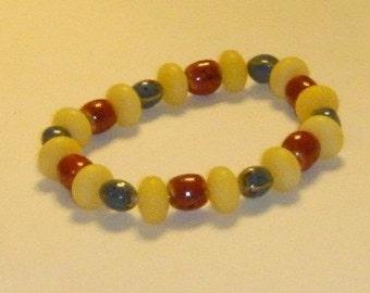 Lucite and Ceramic Bead Bracelet