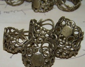 15 Ring Bases Neo Victorian Filigree Brass Finger Blank Finding Steampunk Watch Base Blanks Cabachon