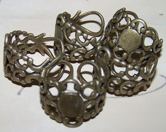 10 New Neo Victorian Filigree Brass Finger Ring Base Blank Steampunk Watch Cabachon