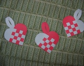 Old world style Scandinavian woven paper heart baskets/ ornaments- set of 3