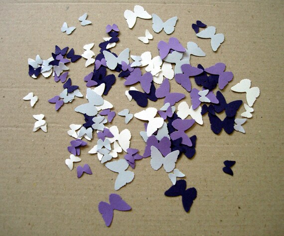 Butterflies in different shades of purple and white punch-outs